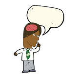 uomo d'affari del fumetto con il cervello enorme con il fumetto illustrazione vettoriale