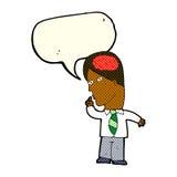 uomo d'affari del fumetto con il cervello enorme con il fumetto royalty illustrazione gratis