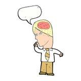 uomo d'affari del fumetto con il cervello enorme con il fumetto illustrazione di stock