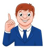Uomo d'affari del fumetto con il dito su Fotografia Stock Libera da Diritti