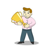 Uomo d'affari del fumetto con il premio dell'oro Immagine Stock