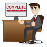 Uomo d'affari del fumetto con il processo completo illustrazione di stock