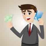 Uomo d'affari del fumetto con la carta di credito ed i contanti dei soldi Immagine Stock