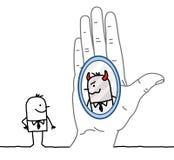 Uomo d'affari del fumetto e della grande mano - riflessione nello specchio illustrazione di stock