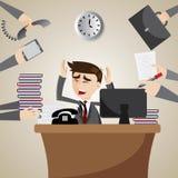 Uomo d'affari del fumetto occupato su orario di lavoro Fotografie Stock Libere da Diritti