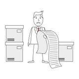 Uomo d'affari del fumetto preoccupato della fattura enorme illustrazione di stock
