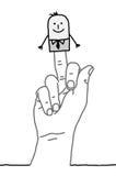 Uomo d'affari del fumetto - saluto del dito Fotografia Stock Libera da Diritti