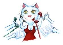 Uomo d'affari del gatto nel telefono dell'ufficio Immagini Stock Libere da Diritti