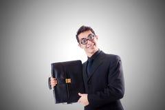 Uomo d'affari del nerd isolato su bianco Fotografia Stock Libera da Diritti