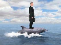Uomo d'affari, delfino, affare, vendite, vendita Fotografia Stock