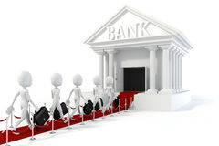 uomo d'affari dell'uomo 3d e costruzione di banca Immagine Stock Libera da Diritti