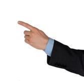 Uomo d'affari della mano che mostra qualcosa Fotografia Stock