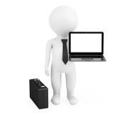 uomo d'affari della persona 3d con il computer portatile moderno Immagine Stock Libera da Diritti