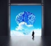 Uomo d'affari della siluetta che guarda al cervello illustrazione di stock