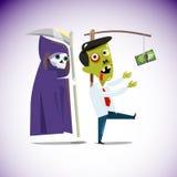 Uomo d'affari dello zombie che insegue i soldi che pendono da un bastone con le gru Fotografia Stock