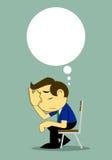 Uomo d'affari Depressed Alone sul banco illustrazione vettoriale