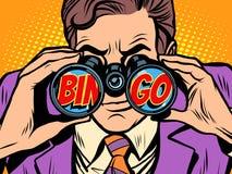 Uomo d'affari di bingo che guarda tramite il binocolo Royalty Illustrazione gratis