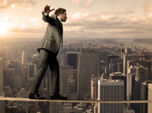 Uomo d'affari di Equilibrist Immagine Stock