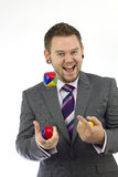 Uomo d'affari di manipolazione felice Fotografia Stock Libera da Diritti