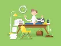 Uomo d'affari di meditazione in ufficio royalty illustrazione gratis