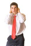 Uomo d'affari di panico Fotografia Stock