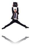 Uomo d'affari di salto Fotografia Stock Libera da Diritti