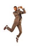 Uomo d'affari di salto Fotografie Stock Libere da Diritti