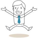 Uomo d'affari di salto con a braccia aperte Fotografia Stock Libera da Diritti