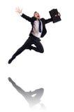 Uomo d'affari di salto isolato Fotografia Stock Libera da Diritti