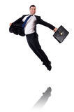 Uomo d'affari di salto isolato Fotografia Stock
