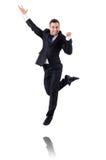 Uomo d'affari di salto isolato Immagine Stock