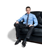 Uomo d'affari di seduta Immagini Stock Libere da Diritti