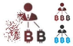 Uomo d'affari di semitono Bitcoin Expences Icon del pixel della scintilla Fotografia Stock Libera da Diritti