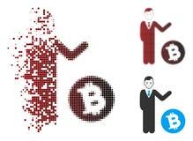 Uomo d'affari di semitono decomposto Icon di Bitcoin del pixel Immagine Stock