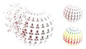 Uomo d'affari di semitono disperso Abstract Sphere Icon del pixel illustrazione vettoriale