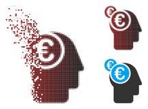 Uomo d'affari di semitono dissolto Intellect Icon del pixel euro illustrazione vettoriale