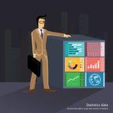 Uomo d'affari di vettore con i dati statistici Immagine Stock Libera da Diritti