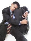 Uomo d'affari di viaggio addormentato Immagine Stock