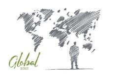 Uomo d'affari disegnato a mano che sta alla grande mappa di mondo Immagine Stock
