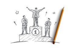 Uomo d'affari disegnato a mano che sta sul primo posto Fotografie Stock Libere da Diritti