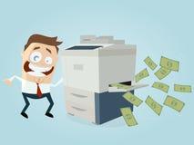 Uomo d'affari divertente che fa le copie delle banconote illustrazione di stock
