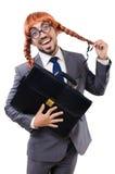 Uomo d'affari divertente con la parrucca femminile immagini stock