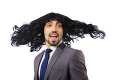 Uomo d'affari divertente con la parrucca femminile Fotografia Stock Libera da Diritti