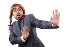 Uomo d'affari divertente con la parrucca femminile fotografie stock
