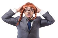 Uomo d'affari divertente con la parrucca femminile isolata Immagini Stock Libere da Diritti
