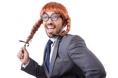 Uomo d'affari divertente con la parrucca femminile isolata Fotografia Stock Libera da Diritti