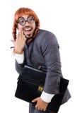 Uomo d'affari divertente con la parrucca femminile isolata Immagine Stock Libera da Diritti