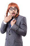 Uomo d'affari divertente con la parrucca femminile isolata Fotografie Stock