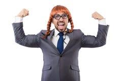 Uomo d'affari divertente con la parrucca femminile isolata Fotografie Stock Libere da Diritti