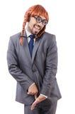 Uomo d'affari divertente con la parrucca femminile isolata Immagine Stock